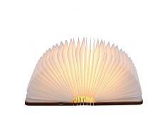 Tomshine Lámpara de Mesa,Lámpara de Libro Recargable USB,Lámpara de Noche,Blanco cálido Madera,Papel con Bateria cargada 500LM/880 mAh,Plegable 360°,Tamaño Mini [Clase Eficiencia Energética A+]