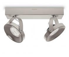 Philips myLiving Spur - Barra de focos, LED, 2 luces, iluminación interior, cepillado, luz blanca cálida, IP20, color gris