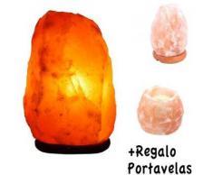 Lámpara de Sal Natural del Himalaya - 1,5/2 kg + Portavelas Regalo - Recomendado Feng Shui