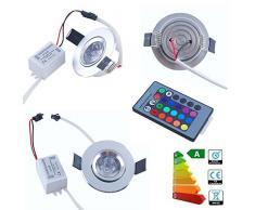 THG 10x 3W 16 luces de techo colorido que destella LED RGB Ronda empotrada con mando a distancia IR 24keys