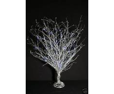 Árbol de mimbre plata 80cm con azul Led luces (RA53)