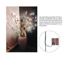 OurLeeme Ramas Impermeable IP44 luz Alimentado por Batería Luces Decorativas del Sauce de la ramita encendida Rama de la Decoración del hogar Blanco Cálido 20-LED