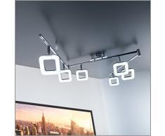 Barra de techo con 6 focos de forma angular I 6 x 4 W LED Lámpara de techo de salón, Orientables y giratorios, Metal y Plástico, Foco angular, Color Cromado, 230 V, IP20, Luz blanco cálido 3000K