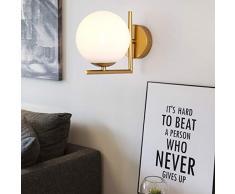 Bola Luz de pared, Moderno Apliques de pared Cortina de cristal del globo de blanco Espejo baño led Para Dormitorio Pasillo Lámpara de pared 1 E27 Ligero-dorado 5.9x7in