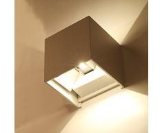 Topmo 2 piezas 7w lámpara de pared LED impermeable IP65 moderno al aire libre apliques 490LM*2 3000K blanco cálido aluminio apliques llevó exterior Arriba y Abajo Diseño