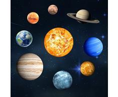 Pueri Pegatinas Fluorescentes de 9 Planetas del Sistema Solar Pegatinas de Pared Decorativos Iluminación Nocturno Infantil