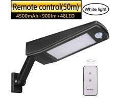 Luz Solar 48 LED 4500mAh 900lm IP65 Impermeable Luces de Seguridad al Aire Libre con Soporte y Control Remoto, Sensor de Movimiento Infrarrojo 120° Focos Solares Exterior Para Jardín (Luz blanca)