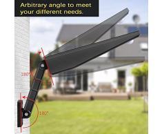 900lm 4500mAh 48 LED Luz Solar IP65 Impermeable Luces de Seguridad al Aire Libre con Soporte Ajustable y Control Remoto, Sensor de Movimiento120° Focos Solares Exterior Para Jardín-Luz Blanca Cálida