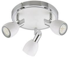 Briloner Leuchten 3408-036 - Lámpara de techo con 3 LED (GU10), color cromo y blanco