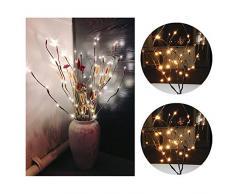 Ramas con Luz 20 Led,AZXES,Iluminación de Ambiente con Diseno Ramas,Lampara Decorativa para Fiesta, Casa, Boda, Navidad, Ledes de Luz Blanca Calido