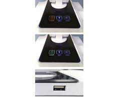 CristalRecord Atlantis - Lámpara flexo LED, 9 W, 3 tonos de luz y encendido táctil, puerto USB