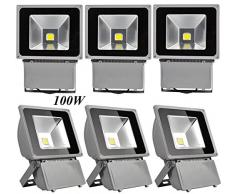 Leetop 6X 100W Foco LED Proyector de Luz Lámpara IP65 Impermeable Iluminación Exterior del Jardín al Aire Libre,Patio,Terraza. Bajo Consumo de Energía y Alto Brillo Blanco Frío 220V