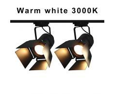2pcs Lampara de Techo 30W Luz de Riel COB 190-265V Retro Minimalista LED Lámpara de Techo de Luz de Punto de Seguimiento para Iluminación Interior Ropa del Corredor