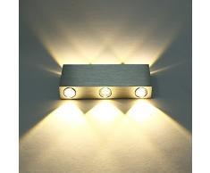 Lightess Apliques de Pared Rectangular Lámpara en Moda de Puro Aluminio 6 LED 6 W Luz Cálida y Agradable Luz de Ambiente, Iluminación de Pasillo, Entrada, Dormitorio, Decoración Hogar, etc, Blanco Cálido