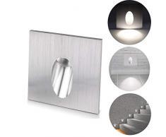 ALLOMN Lámpara empotrada LED de pared, apliques de pared Luz cuadrada Escotada LED Escaleras escalonadas Lámpara Porche Luz de paso 1W Bombilla de sótano CA 100-245V (Blanco Frío, 1 PCS)