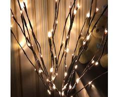 Donpow Luces de rama, LED Luces decorativas alimentadas por batería con 5 ramas 20 luces LED para habitación nórdica Dormitorio Luz de noche pequeña Barra transparente Decorativa Blanco cálido 2pcs