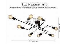 OYI Moderno Lámparas de araña Metal Iluminación de techo Negro 8 E27 Lámpara para la sala de estar dormitorio restaurante Cafe (Sin bombilla)