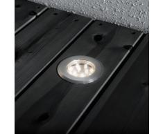 Konstsmide 7654-000 - Mini focos de suelo (3 unidades, 7 x 7 x 3,5 cm, IP44, acero inoxidable y cristal)