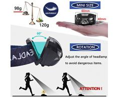 Aukelly Linternas Frontales USB Recargable LED Linterna Frontal Cabeza Sensor,1200mAh,8 Modos,Sensor Frontales Linternas LED alta Potencia Impermeable Linterna Frontale para Camping,Pesca,Ciclismo