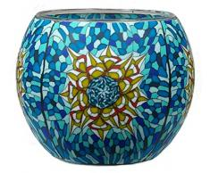 Him Tiffany Star Cristal/portavelas candelabros, Multicolor, 11x11x9 cm