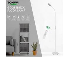 Tonffi mando a distancia - Lámpara de pie regulable 9 W LED con interruptor táctil (Cuello de cisne 360 Giratorio 5 niveles de brillo blanco, plástico, Weiß 9.00 wattsW 10.00 voltsV