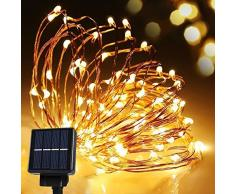 Cmyk® LED solar guirnalda de luces Navidad exterior parranda fiesta jardín 10M/33FT 120er Blanco Cálido