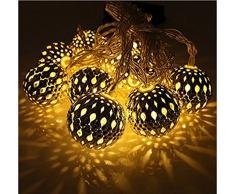 Aution House Solar 10 Luces de LED Estilo de Bolas Marruecos Navidad Fiestas Decorativos Longitud 3M Cuelga en el Jardín ,Tizarra, Árbol etc (LA BOLA DORADO - LUZ BLANCO CALIENTE)