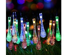 Uvistar 6m 30 LED en forma de lagrima/bola de cristal con distintos colores al aire libre solar luz de la secuencia,solar accionada de la decoración de Navidad de las luces destellan y impermeable para jardín,Navidad,Patio,hogar,árbol