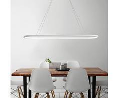 KBEST Oficina LED Lámpara Colgante de Techo Regulable Luz Iluminación Decorativa Moderna Altura Ajustable para Recibidor Barra Cocina Comedor 80W/90cm,Blanco