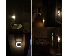 SOAIY® 0,5W LED Lampara con Sensor Automático a Luz, de Bajo Consumo, Luz de Noche, para Quitamiedos, Luz de Enchufe (Blanco Cálido)