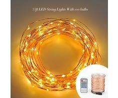 Cadena de luces LED VicTsing impermeables para su uso interior y exterior. 6V con 100 LEDs de blancos cálidos, alambre de cobre de unos 10 metros.Perfecta la decoración de bodas, fiestas navideñas y fiestas en casa. DIY - Oro champán