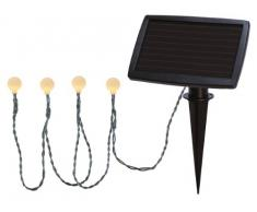 Best Season 477-58 - Cadena de Luces led (20 Bombillas, con Panel Solar, para Exteriores, 2,7 m, Incluye 1 Pila AAA, luz Blanca cálida)