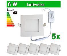 LEDVero SMD 2835 ultrafina 2 x Panel LED, 6 W, cuadrada lámpara de techo empotrables en foco, blanco 6.0|wattsW