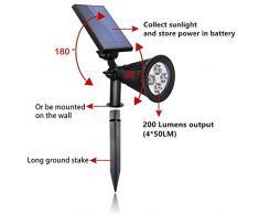 2200 mAh de la batería / ultra brillante al aire libre Solar Powered luz del proyector LED Spot luz de inundación de la yarda del césped Jardín Patio Patio de madera Accent Seguridad Paisaje Luz Camino de entrada Camino (Pack de 2)