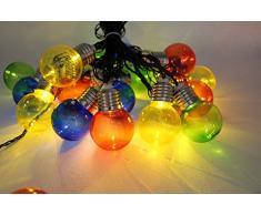 Solar Bulb String, EONANT 4M 10 LED Bombillas Solares de Plástico Luces de Cadena a Prueba de Agua con 2 Modos de Iluminación para Exterior, Jardín, Decoraciones de Navidad (Multicolor)