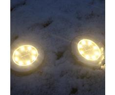 12 LED luz de tierra de la energía solar, Gusspower luz de tierra enterrada Solar lámpara de luz LED de ruta solar al aire libre luz de jardín decoración de patio - Silver (B)