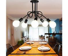 Lámpara creativa de Edison Lámpara antigua DIY de 5 Lámparas del Hierro del metal de las lámparas Lámpara Industrial de la Lámpara de Techo de la Vendimia E27 Salón Retro del Comedor Industrial Dormitorio Hotel Hogar Accesorios de Iluminación