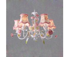 País rústico salón lámparas de araña Hoja de metal con pantalla de tela de flores con rosa Cerámica Rose dormitorio lámpara colgante Contador de bar comedor techo alumbrado