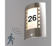 QAZQA Moderno Aplique EMMERALD con detector de movimiento con números for Outdoor use, Plástico, Acero inoxidable, Rectangular, Alargada / Adecuado para LED E27 Max. 1 x 40 Watt