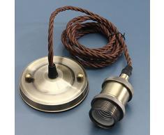 KINGSO E27 Portalámparas cobre retro antiguo Edison luz colgante de latón macizo luz Socket, Vintage Industrial Lámparas de techo lámpara titolare 110 V-220 V