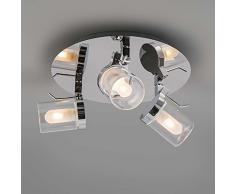 QAZQA Moderno Plafón de baño GIULIA 3 cromo, Vidrio, Acero inoxidable, Redonda / Adecuado para LED G9 Máx. 3 x 33 Watt