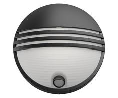 Philips myGarden Yarrow - Aplique de pared con sensor de movimiento, iluminación exterior, 1 x 6 W, resina, blanco cálido, color negro