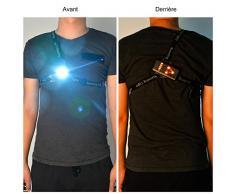 Sistema de iluminación personal para hacer deporte de noche, la luz LED se recarga, tiene una luz en el pecho, tres modos de iluminación, ideal para correr, hacer jogging, andar de noche o en las tardes de invierno