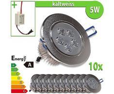 1 x foco LED empotrable 5 W redondo luz blanca cálida lámpara, blanco, 10 unidades