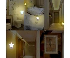 Enchufe de luz nocturna para niños KUOZEN Mini forma de estrella enchufe de pared Plug-in LED luces de la noche lámpara automática para bebé niños dormitorio decoración (azul)