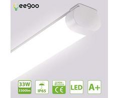 Oeegoo Tubo LED 120cm, 33W 3300Lm (reemplazo de bombilla de 300W) Tubo fluorescente, Impermeable IP65 Luminaria de Taller lámpara de baño Garaje Oficina Bodega Cocina blanco neutro 4000K