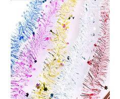 Cosanter Cinta de Navidad de Navidad Cintas para Decorativas árbol Navidad Boda Partido Cinta Guirnalda Adornos de Navidad 200cm, 1PCS (Plateado)