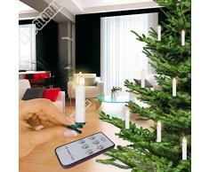 20 LED velas inalámbrico mando de velas navideñas Navidad Vela LED, Multifunción Electronic vela decoración de árbol de Navidad, Luces de Navidad, Luz Blanca Cálida, incluye mando a distancia Controller