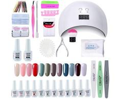 Elite99 Lámpara UV LED para Uñas 24w, 12 Colores Kit de Esmaltes Semipermanentes en Gel UV LED, Base y Top Coat, Removedor de Uñas 001
