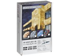 System LED 465-06 - Cadena de luces LED (50 bombillas, 500 cm), color blanco cálido